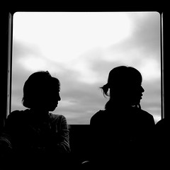 Anonymous JR Kure Line passengers (nkawai) Tags: japan japón 日本 日本2016 travel iphone 6s photography 日本 日本2016 travel bw black and white silhouete profile blanco y negro 黒白 白黒
