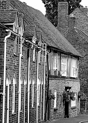 Much Wenlock Almshouses founded before 1485, replaced here c.1780 (eucharisto deo) Tags: bw fachwerk timberframe tudor much wenlock blackandwhite bandw blackwhite timber frame timberframed