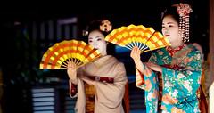Kimono Girls 5 (SamHawleywood) Tags: girls people blackandwhite japan japanese blackwhite dance spring beans kyoto faces dancing traditional ceremony maiko geisha kimono samurai fans hawleywood samhawleywood