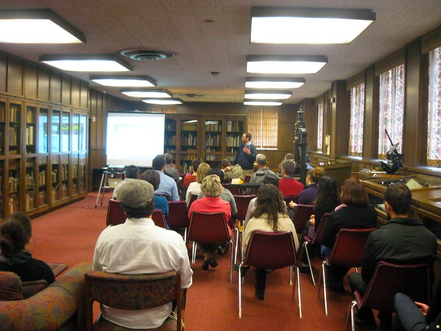 great turnout for matt gold's talk on digital humanities in the rare book room in gleeson library