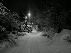 Snowy street (Antti Tassberg) Tags: winter blackandwhite bw snow monochrome mobile night espoo suomi finland dark nokia lowlight europe snowy cellphone eu scandinavia lumi talvi y uusimaa 808 katu luminen laaksolahti phoneography pureview tapiontie
