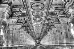 Temple of Rameswaram Architectural Corridor - HDR - Rameswaram-B&W-IMG_7114_5_6 (photographic Collection) Tags: india architecture canon temple photographic collection 365 hdr tamilnadu rameswaram photomatix 2013 550d kalluri t2i photographiccollection bheemeswara bkalluri bheemeswarasarmakalluri