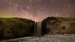 Happy Hour - Iceland 1.777 Series (Alberto Segramora) Tags: winter light snow water night stars waterfall iceland nikon aurora northern d800 stelle islanda skogafoss wondersofnature segramora capturenature