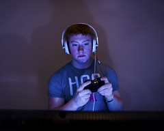 (8/52) The Gamer (Drew van der Vechte Photography) Tags: blue light portrait man game male station ginger tv video nikon play sony xbox 360 ps gamer ps1 microsoft ps2 playstation sb ps3 720 ps4 sb900 d7000 d71000