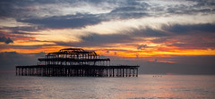 (drfugo) Tags: sunset sea england sky water birds metal clouds sussex iron brighton flight westpier murmur starlings nikkors55mmf12 murmation canon5dmkii nikon55mmf12s