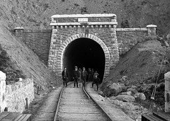 Tunnel (National Library of Ireland on The Commons) Tags: railwaystation trainstation newport mayo ireland connaught connacht tunnel 1892 19thcentury 1890s spade tracks sleepers workers boots gang railways arch robertfrench williamlawrence lawrencecollection glassnegative portal nationallibraryofireland men black