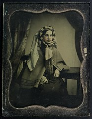 Quarter plate ambrotype of a girl - on black background (whatsthatpicture) Tags: girl case ambrotype 1850s publicdomain cased omeka