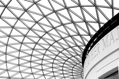 To Her Maj (Kate H2011 (slowly catching up!)) Tags: uk roof england blackandwhite bw london geometric glass mono blackwhite unitedkingdom thumbsup britishmuseum greatcourt twothumbsup ef50mm 2013 thechallengefactory