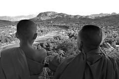 Laos - Luang Prabang (luca marella) Tags: people bw panorama white black river landscape blackwhite asia monk pb bn e bianco nero namkhan louangphrabang marellaluca