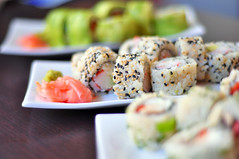 colored and delicious sushi (michele.pautasso) Tags: red food white fish black seaweed green philadelphia kitchen japan closeup dinner sushi asian lunch cuisine japanese restaurant avocado leaf healthy asia raw rice background maki traditional cucumber salmon tasty plate shrimp fresh east gourmet delicious eat snack meal chopsticks seafood roll appetizer diet oriental wasabi isolated delicacy prepared caviar