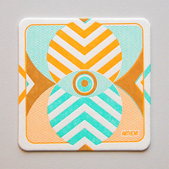Zig Zag (Cranky Pressman) Tags: graphicdesign printer printing sample letterpress coaster technique 2color