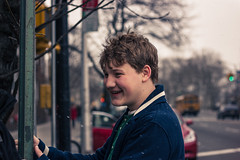 Smile Once in a While (Stinja1) Tags: street nyc newyorkcity winter boy snow ny cold color smile brooklyn canon 50mm dof streetphotography depthoffield laugh f18 nocrop depth flatbush t2i