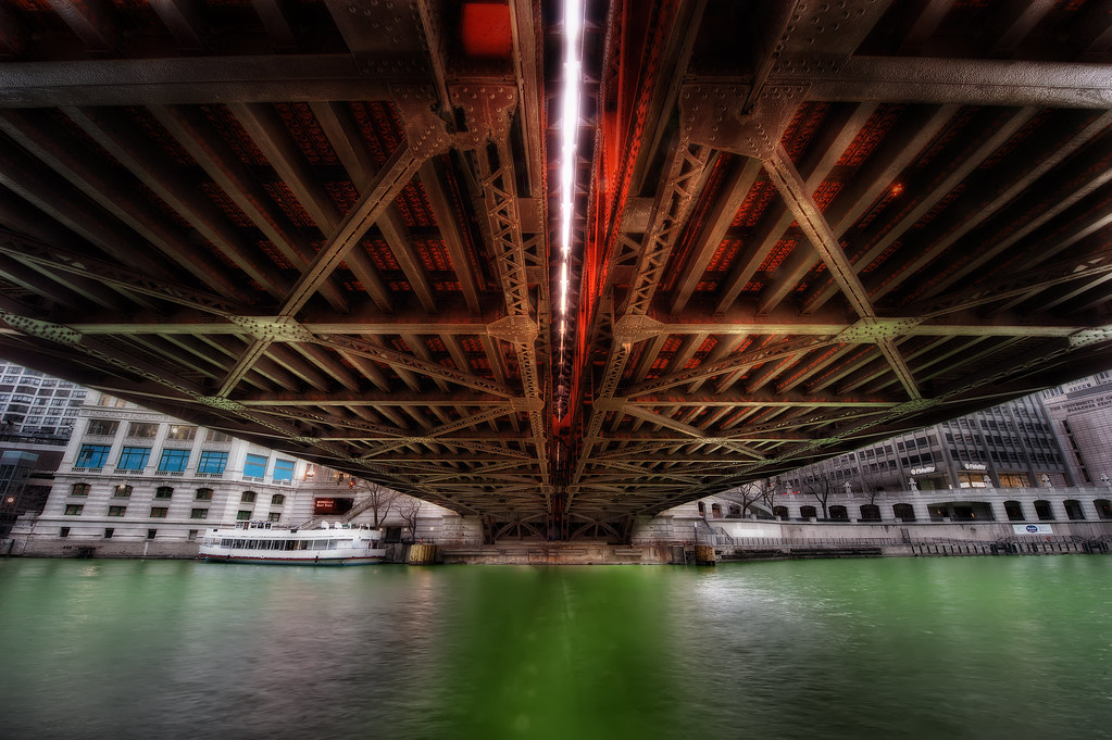 A look from underneath the Wabash Street bridge over the Chicago River.