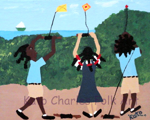 """School Children with Kites""; Acrylic on canvas, 7"" x 9"" by Kato Charles.  FOR SALE."