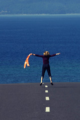 Lake Taupo and friend jumping for joy at the scenery! (kiwigran) Tags: newzealand laketaupo jumpforjoy flickrtravelaward