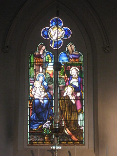 A Stained Glass Window of the Holy Family with St Anne; St. Luke's Anglican Church - Corner of Lyons and Pelissier Streets, Yea