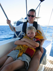 Mom and Son (David J. Greer) Tags: ocean life travel cruise family boy sea woman sun water comfortable sailboat mom outside outdoors glasses mediterranean sailing wind outdoor mother croatia cruising cockpit windy sunny son jacket sail recline comfort hold adriatic