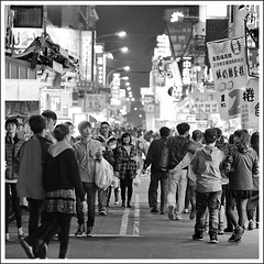 (Yang Ming ing) Tags: street city travel light people bw white black girl lines sign night canon photography market young taiwan 85mm taichung taipei 18   650d