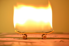 Miniature Skateboarding (Callum_Peck) Tags: man up set toy fire cool awesome small blowing wicked skateboard really sick alight cruel on