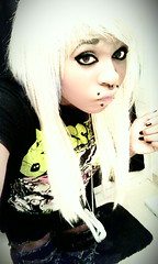 Erin_Saccadicc (xErin_Saccadiccx) Tags: blue boy white black girl angel silver hair model colorful erin snake awesome makeup canine tattoos blonde gloomybear colourful bites bangs piercings platinum alternative septum eyeliner androgynous blessthefall saccadic saccadicc sacadic