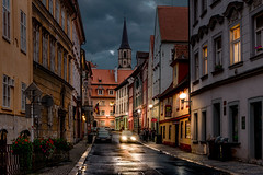 Alley in Old Town (Bernd Thaller) Tags: eger cheb czechrebublik cz street alley houses bluehour evening outdoor architecture streetlamps