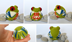 Red eyed Tree Frog (woolroommate) Tags: wool needlefelted needlefelting felt ball ornament decor softsculpture mobile baby etsy roommate lindabrike natureinspired natural toy arttoy collectable collectorsitem frog redeyedfrog reptile animal green