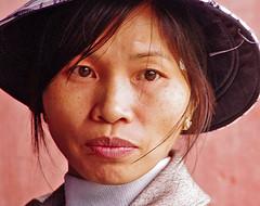 Lady in Hu (Jom Manilat) Tags: lady hu rainy day hat viet nam vietnam