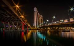 Singapore night (andreasmally) Tags: singapore singapur night bridges brücke marina bay sands