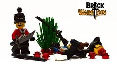 According to Plan (BrickWarriors - Ryan) Tags: brickwarriors custom lego minifigure weapons helmets armor british shako pirate colonial revolutionary war breaker sword tricorn flintlock musket