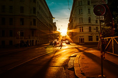 Wandering through unknown city (alex.salt) Tags: austria eurotrip201608 vienna city dusk evening outdoor public road sidewalk street sunset pentaxk5 smcpentaxda1855mmf3556alwr 18mm