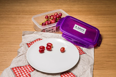 """""""Classic"""" School Lunch Series (Ian Johnston LRPS) Tags: school lunches tabletop grapes wrath plate white red wood lunchbox classic story 2016 nikon d800 2470f28 flash strobe remote trigger"""