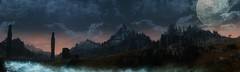 Under A Pale Moon (~Scimo~) Tags: skyrim screenshot fantasy moon clouds landscape panorama mountain sky