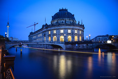 Bode Museum Blue Hour (Nicholas Olesen Photography) Tags: berlin germany europe capital city travel tourism nikon d7100 blue hour sky spree river boat bode museum building cityscape lights round fernsehturm horizontal water reflection long exposure night evening dusk outdoors