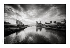 Salford Quays (Gary Rowlands) Tags: salford quays superia100 leica m4 15mm superheliar film converted monochrome manchester docks trafford iwmn iwm water sky lowry bridge itv bbc bw colour 100iso wideangle voigtlander 35mm handheld imacon homescanned leicam4