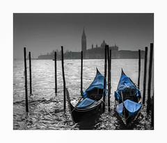 Venetian blues (oxfordwight) Tags: venice venezia gondolas italy water blue