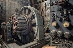 Old GE (billmclaugh) Tags: hamilton ohio manufacturing conveyors wheels insulation vehicles building brick windows canon 5dmiii 24mmtse shift highdynamicrange hdr photoshop photomatix lightroom on1 ge generalelectric generator synchronousconverter dcmotor