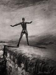 Le Grand Saut (jeanfenechpictures) Tags: homme man saut jump mer sea eau water blackandwhite blancetnoir ciel sky nuages clouds mur wall horizon nicolaslavarenne antibes textures monochrome blanc noir black sepia white