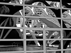 Chaos (vittorio vida) Tags: bn bw chaos buildings architecture reflections stairs museum valencia