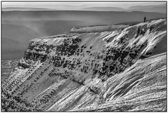 Early Morning Walkers (glenn porter) Tags: mono monochrome brecon beacons winter climbing ice morning wales climber walker early mist snow rocks mountains