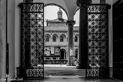 Milano: ingresso al chiostro dell'Universit statale (antico Ospedale C Granda) (Gian Floridia) Tags: cgranda filarete milano ospedalemaggiore architettura bn bw bienne cancellata chiostro pilastri