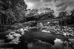 Nickel Plate Road 767 in the Cuyahoga Valley (Brandon Townley) Tags: trains railroad nkp765 nkp767 nickelplateroad 767 765 cuyahogavalleyscenicrailroad cvsr bw blackandwhite reflection steamengine steamlocomotive