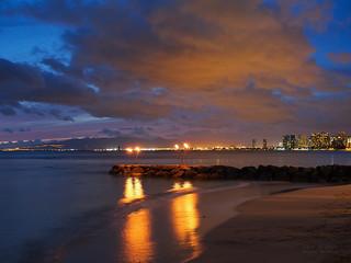 Waikiki burning sky at dusk