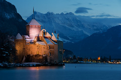 The castle - with Dents-du-midi in its backdrop (Explored on Flickr  - 09-Feb-2013) (Launchpad McQuack ) Tags: longexposure castle switzerland swiss du chillon midi dents montreux vaud montreaux