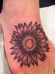 Flower black and grey foot tattoo by Wes Fortier - Burning Hearts Tattoo Co. 1430 Meriden Rd.  Waterbury, CT