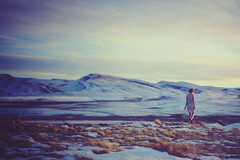 It doesn't matter if the stars forget us. (-Fearless-) Tags: blue winter portrait sky selfportrait snow mountains cold girl self dress snowy figure wyoming distance
