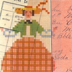 orange skirt and stripe (kurberry) Tags: collage crossstitch ephemera tissuepaper tracingpaper magazinepages bookpages vintageephemera bookbindingteam