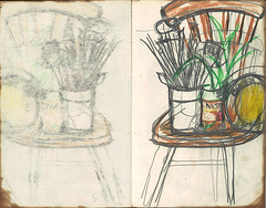 "Still life,with brushes on chair. • <a style=""font-size:0.8em;"" href=""http://www.flickr.com/photos/91814165@N02/8493908645/"" target=""_blank"">View on Flickr</a>"