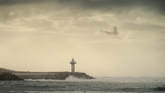 Before the Rain (aminefassi) Tags: africa leica sea sky copyright cloud lighthouse beach rain weather port lumix harbor harbour pluie playa panasonic morocco maroc plage far  phare meteo digue elmarit sablesdor temara 45mmf28 gx1 harhoura dmcgx1 aminefassi