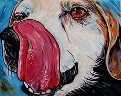 Beagle Dog Art Painting (WOOF Factory) Tags: dog art beagle tongue painting acrylic petportrait dogart dogpainting dogtongue wooffactory beagleart beaglepainting