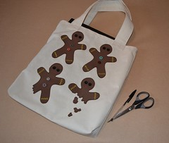 Canvas shopping bag - gingerbread men (Dr Badcrumble - Maker & Baker) Tags: shopping recycled handmade gingerbread canvas bags applique tote gingerbreadmen mrsbadcrumble